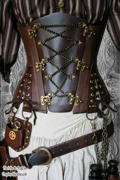 The Steampunk Corset. This beautiful chocolate brown Veg leather & brass underbust corset is a highly individual Steampunk Corset. A great centrepiece Steampunk Cosplay, Viktorianischer Steampunk, Steampunk Clothing, Steampunk Fashion, Gothic Fashion, Style Fashion, Fashion Clothes, Steampunk Dress, Gothic Clothing