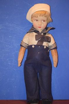 Here is a wonderful French Lenci Type Cloth Doll. The doll is so sweet and comes to you dressed in the original Mariner's outfit. The doll is marked