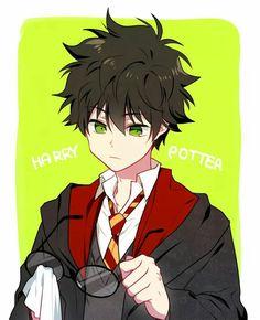 Woah anime Harry Potter is very cute! Harry James Potter, Harry Potter Anime, Harry Potter Comics, Harry Potter Fan Art, Fans D'harry Potter, Harry Draco, Harry Potter Drawings, Harry Potter Universal, Harry Potter Fandom