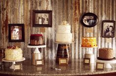 VWR: Framed antique pictures of family on their wedding day/special moments as backdrop for decorative table displays
