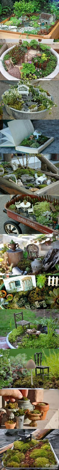 Miniature Fairy gardens. IKEA has a cute little glass terrarium that is calling my name. Going to try putting some our moss into small urns for the fairy garden. - DIY Fairy Gardens