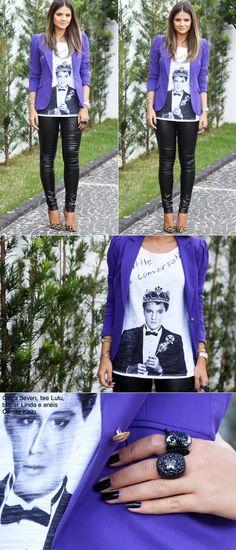 Calça couro + t-shirt + blazer