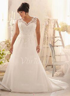 Robes de mariée - Forme Princesse Col V Traîne moyenne Organza Robe de mariée avec Plissé Dentelle Emperler (0025058036)