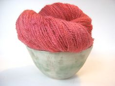 RHUBARB Hand Dyed Yarn Local NY Romney Wool by spinningmulefibers #hvnyteam