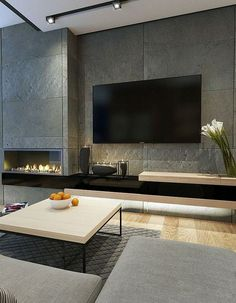 Inspiring Modern Wall Texture Design for Home Interior is part of Inspiring Modern Wall Texture Design For Home Interior Modern interior decoration designs can help you fully remodel your home w - Home Fireplace, Modern Fireplace, Living Room With Fireplace, Fireplace Design, Contemporary Fireplaces, Living Room Tv, Interior Design Living Room, Living Room Designs, Interior Modern