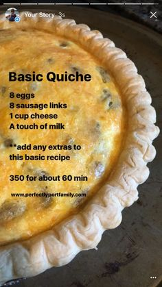 Try this delicious, easy quiche recipe with 4 basic ingredients. Then, layer in … Try this delicious, easy quiche recipe with 4 basic ingredients. Then, layer in additional ingredients to make it just the way you want it. Breakfast Quiche, Breakfast Dishes, Breakfast Recipes, Dinner Recipes, Simple Quiche Recipes, Basic Quiche Recipe, Easy Recipes, Healthy Quiche Recipes, Easy Brunch Recipes