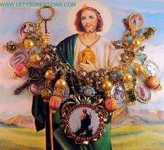 St. Jude, Saints, Religious Medals Handcrafted Charm Bracelet www.letyscreations.com #catholic #medals #jewelry