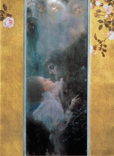"Love, 1895, by Gustav Klimt (1862–1918). Oil on canvas, 44 x 60 cm (17.3 x 23.6""). Art Nouveau 