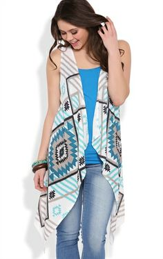 Deb Shops sleeveless sweater knit cozy with teal/taupe aztec pattern $12.50