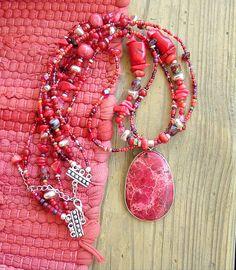 BOHO Chunky Southwest Necklace Red Stone Necklace by BohoStyleMe