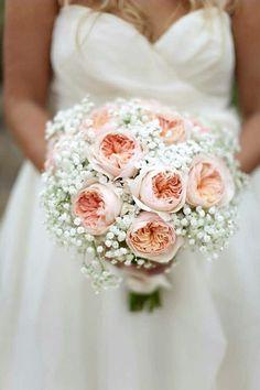 Pretty Wedding Bouquet Arranged With: White Gypsophila & Peach English Garden Roses