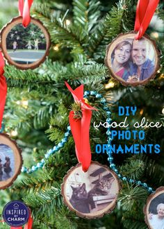 DIY Wood Slice Photo Ornaments, love that they used photos in them, easily made with mod poge, and you could take a photo of your family cutting down or picking out  the tree and put that on there each year