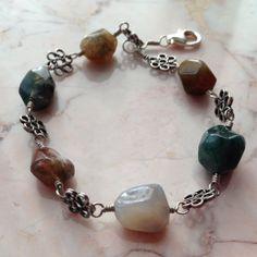 Handmade Wire Wrapped Fancy Jasper Bracelet
