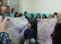 Today we presented the #StitchforSyria wall hangings to the @concernworldwideuk Livelihoods project in Tripoli where over thirty women are currently learning embroidery and discovering that it's not only a good way to generate income but a soul soothing way to spend time with other people. It was an honour to be there meet them and be their first ever manbroiderer! They were thrilled to see the work and know that so many of you took time to send pieces to Concern making beautiful hangings…