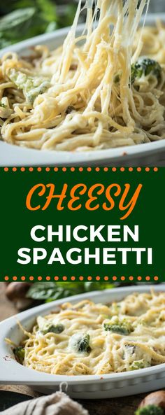 This Easy Cheesy Chicken Spaghetti recipe is so creamy and delicious, it's sure to become an instant family favorite! It's baked right in the oven for a quick weeknight meal! #cheesychickenspaghetti #easyweeknightmeal #easydinnerrecipe #gogogogourmet