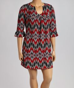 Loving this Aryeh Black & Red Abstract Notch Neck Sweater Dress - Plus on #zulily! #zulilyfinds