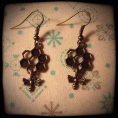 Honeybee Love Earrings by FourSquaredDesigns on Etsy, $20.00