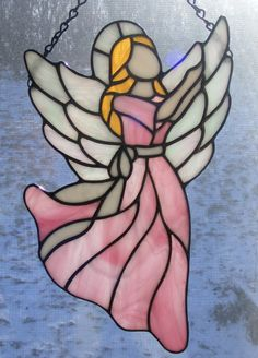 Stained Glass Angel 11 Tall Joy by StainedGlassElegance on Etsy, $75.00