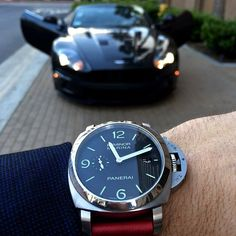 Panerai and Aston Martin Aston Martin, Martin Cars, Panerai 312, Panerai Watches, Panerai Luminor, Mens Style Guide, Men Style Tips, Style Men, Luxury Watches For Men