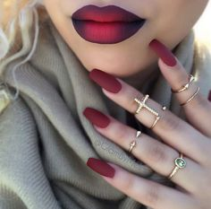 Red Ombré Lips & Matte Red Nails