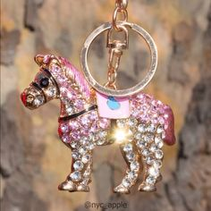 "Pink Crystal Horse Keychain/Fob/Purse Charm Glimmering pink & diamond color crystals. Horse saddle is painted enamel. Back of horse has multiple heart filigree detail. Weighty but not heavy. Approximately 4""H x 2.5""L. Please ask if you have questions. Accessories Key & Card Holders"
