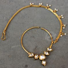 The SYMA NOSE RING   by Indiatrend. Shop Now at WWW.INDIATRENDSHOP.COM Nose Ring Jewelry, Gold Nose Rings, Ring Earrings, Bridal Accessories, Wedding Jewelry, Rajput Jewellery, Bridal Shower Attire, Bridal Nose Ring, Pearl Statement Necklace