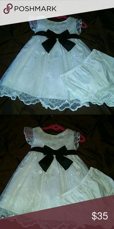 New cond/Easter or flower girls dress with panties White crinoline dress with scalloped edges black sash bow and panties to match size 18 months special order Dresses