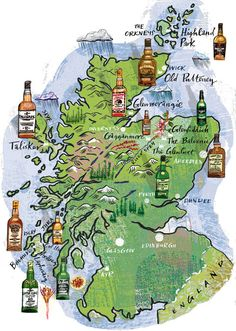 Nigel Owen - A map of the whisky making regions of Scotland. The only map that matters, really. Scotland Map, Scotland Road Trip, Scotland Travel, Whiskey Tour, Scotch Whiskey, Whisky Map, Malt Whisky, Whisky Club, Whisky Tasting