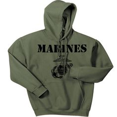 Military Green Vintage Marines Hoodie | Marine Corps Direct | Quality USMC gear and clothes | marinecorpsdirect.org | USA