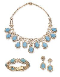 A TURQUOISE AND DIAMOND SUITE, BY CHAUMET