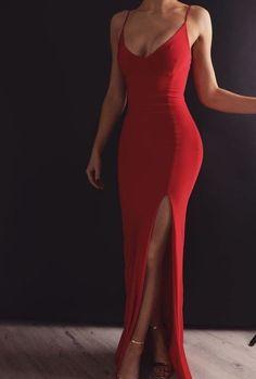 Sheath V Neck Spaghetti Straps Red Elastic Satin Long Prom Dresses Prom Dress V-neck V Neck Prom Dress Long Prom Dress Prom Dress Red Prom Dress Prom Dresses Long V Neck Prom Dresses, Grad Dresses, Mermaid Prom Dresses, Sexy Dresses, Formal Dresses For Weddings, Red Mermaid Dress, Formal Dresses Long Elegant, Prom Dreses, Fitted Prom Dresses