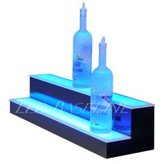 30 2 level LED lighted liquor bottle display shelf with multi colors and remote
