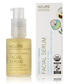 Acure Organics Seriously Firming Facial Serum reduces fine lines, imperfections, and scars. Experience concentrated and targeted results as rich antioxidants and nutrients revitalize our skin. Certified Organic Argan Oil restores moisture to the skin's lipid layer. Borage Oil soothes inflammation and Cranberry works to neutralize free radicals for firmer, glowing, skin. $22.99