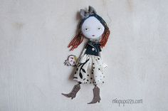 Girl and Tiny dog Art Doll Brooch mixed media by miopupazzo