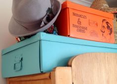 Stenciled Storage Boxes