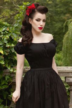 Pinup Couture Gathered Peasant Vintage Inspired Top in Black | Pinup Girl Clothing