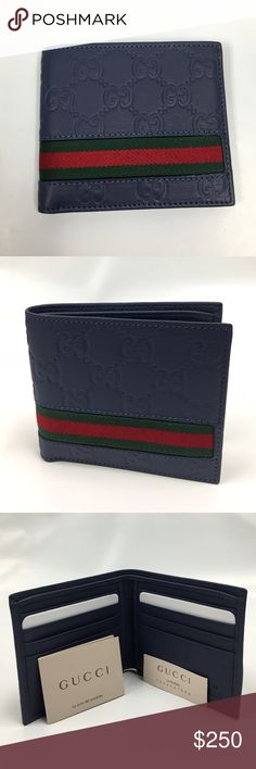 Gucci Wallet Guccissima Leather Wallet in blue Matte leather Blue GUCCI Guccisima Wallet                         Features green-red-green stripes, eight card slots and two bill compartments.  Open: W21cm x H9cm Closed: W11cm x H9cm Made in Italy  100% authentic. Comes with original box and paper cover. Gucci Bags Wallets