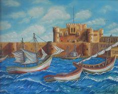 (c) Kaytabai 1996 by Marwan Kishek - Oil on canvas Seascape Paintings, Oil Paintings, Alexandria, Oil On Canvas, Castle, Clouds, Fine Art, Sky Sea, Ocean Waves