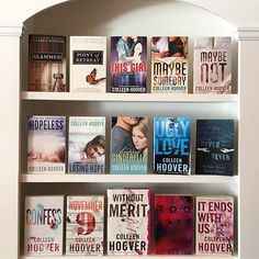 Are you a #cohort (aka a Colleen Hoover fan)? I am an avid fan of @colleenhoover and her books. Plus shes a pretty awesome human with a wicked sense of humor and a heart thats bigger than Texas. Here is my collection of CoHo books. I havent read Too Late or Without Merit yet because my TBR is also bigger than Texas.  Day 19: #bookishfaves17 {contemporary}  #colleenhoover #coho #atriabooks #bookshelf #shelves #bookcollecrion #contemporaryromance #romancebooks #romance