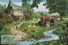 Artecy Cross Stitch. The Old Tractor Cross Stitch Pattern to print online.