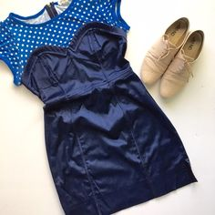 Forever 21 blue & navy polka dot bustier dress Very adorable and unique blue polka dot short sleeve upper with navy bustier dress.  Fitted look with small side slits. Worn once. No tears or stains.  Cute vintage look from forever 21.  True to size Forever 21 Dresses Mini