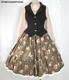 OWN - Metamorphose Temps de Fille - Rose Print Tiered Skirt (Medium length). Traded with Alison for Astronomical Clock Underbust JSK