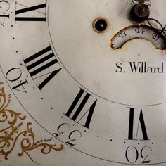 Simon Willard clock detail. Roxbury Massachusetts. 1790s