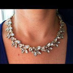 Bridal/Formal Crystal Leaf  Statement Necklace Beautiful leaf design within a gold tone setting. Length show in pic is in the last link of the clasp. Boutique Jewelry Necklaces