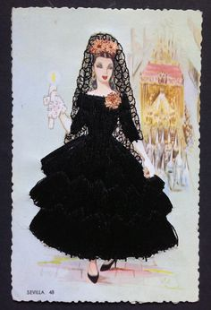 Spanish Spain Woman Embroidered 3D Vintage Postcard