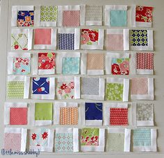 Moda Bake Shop: Scattered Squares Pillow by Corey Yoder of Coriander Quilts Charm Pack Quilt Patterns, Charm Pack Quilts, Charm Quilt, Quilt Block Patterns, Quilt Blocks, Scrappy Quilts, Patchwork Quilting, Easy Quilts, Small Quilts