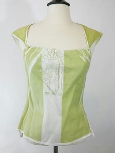 3861e050efc233 Jil Sander Green and White Cotton Cap-Sleeve Top Sz 34 Small  JilSander