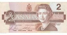 Canadian Banknotes 2 Dollars bank note 1986 Her Majesty Queen Elizabeth II, Queen of Canada Ottawa, Canadian Dollar, Canadian Coins, Canadian Maple, 2 Dollar Bill, Valuable Coins, Valuable Pennies, Rare Pennies, Coins Worth Money