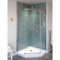 Home Decorators Collection Hamilton Shutter 31 in. W x 22 in. D Bath Vanity in Sea Glass with Granite Vanity Top in Grey with White Sink-10806-VS31H-SG - The Home Depot Corner Shower Enclosures, Frameless Shower Enclosures, Corner Shower Stalls, Small Shower Stalls, Corner Tub Shower Combo, Glass Corner Shower, Home Depot, Frameless Sliding Shower Doors, Small Showers