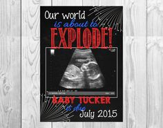 Chalkboard Pregnancy Announcement Card // July 4th Themed // (5x7) Personalized - *Digital File* by MMasonDesigns